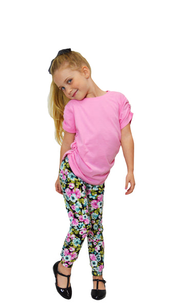 Pink and Teal Flower Printed Legging