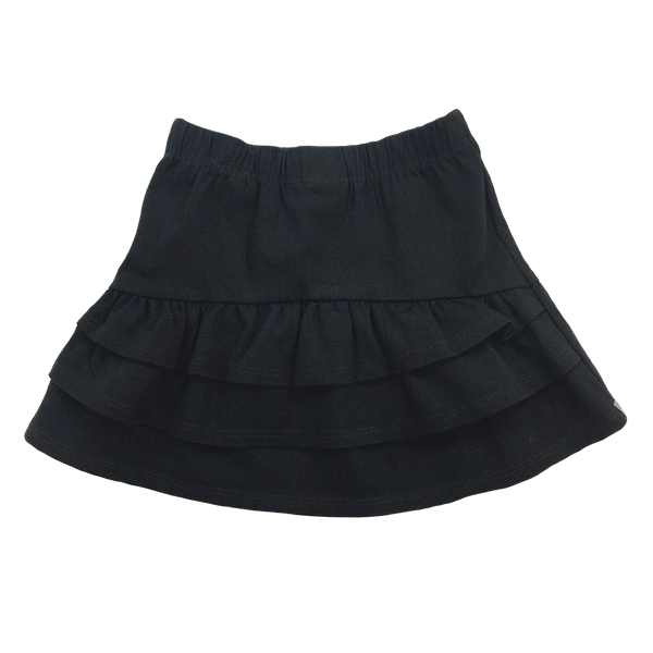 Ruffle Skirt in Black Twill - Hibou Clothing