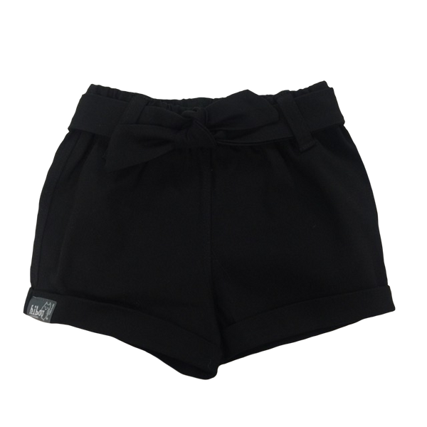 Infant Bow Shorts in Black Twill - Hibou Clothing