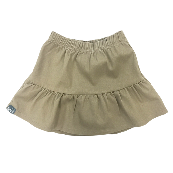 Ruffle Skirt in Khaki Twill - Hibou Clothing