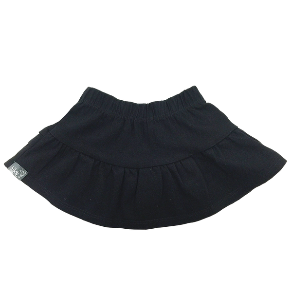 Infant Ruffle Skirt in Black Twill - Hibou Clothing