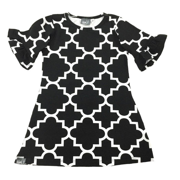 Quatrefoil Dress Black - Hibou Clothing