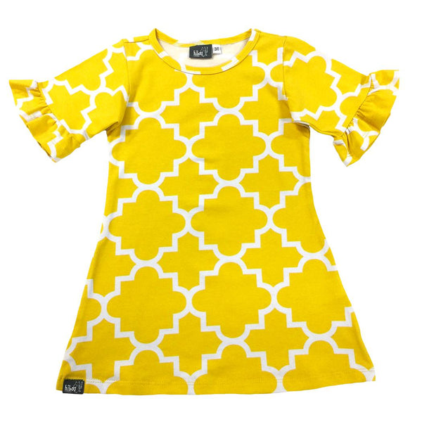 Quatrefoil Dress Yellow - Hibou Clothing