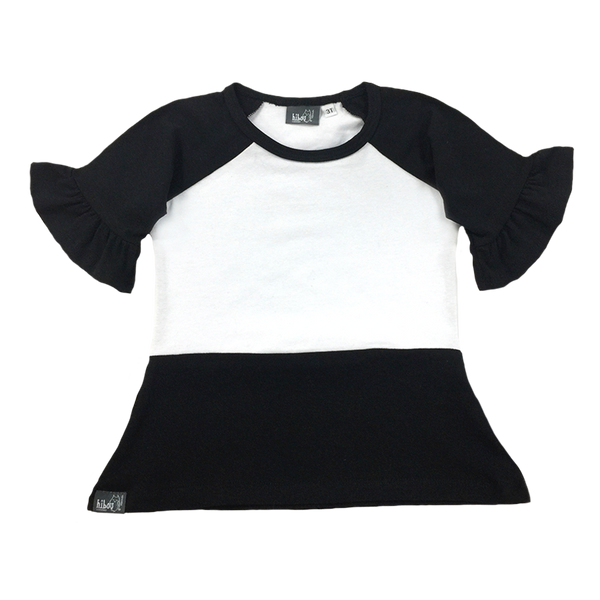 Black and White Ruffle Raglan - Hibou Clothing