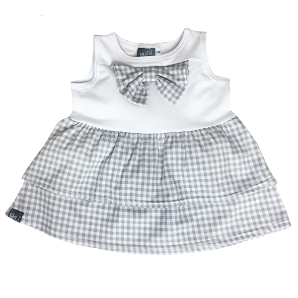 Gingham Bow Tank Gray - Hibou Clothing
