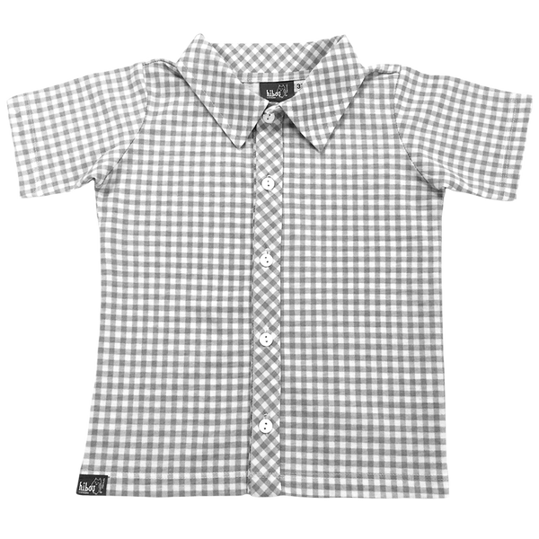 Gray Gingham Party Shirt - Hibou Clothing