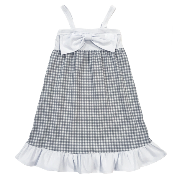 Gingham Dress Gray - Hibou Clothing