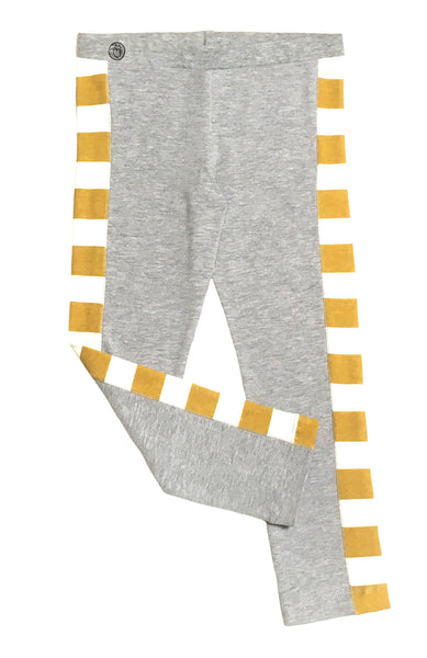 Grey Golden Stripe Side Paneled Legging - Hibou Clothing
