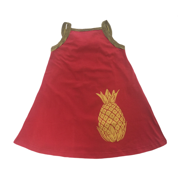 Red Pineapple Tank Dress - Hibou Clothing