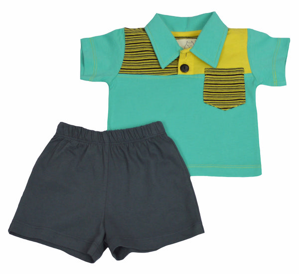 Boy's Teal Polo Infant Set - Hibou Clothing
