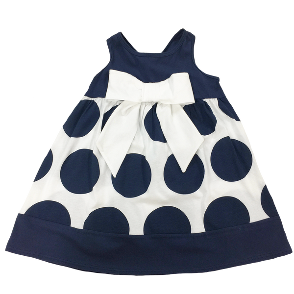 Navy Dot Dress - Hibou Clothing