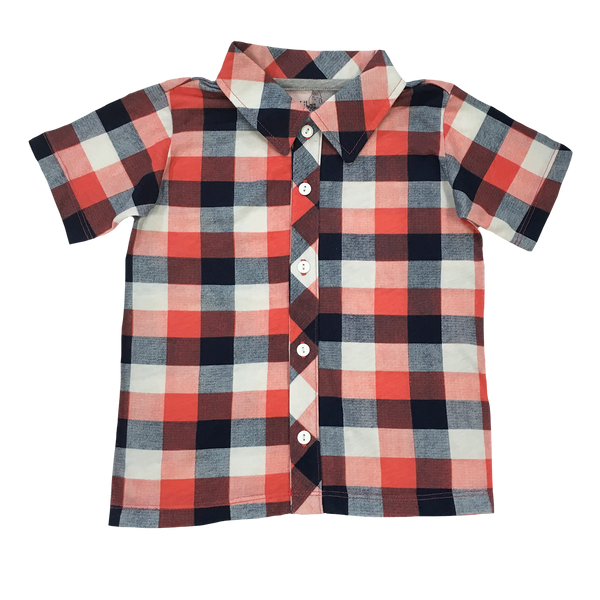Orange Plaid Party Shirt - Hibou Clothing