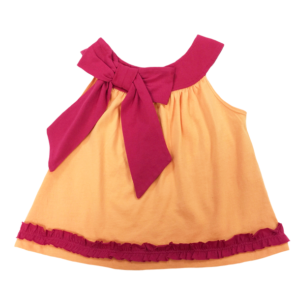 Orange Tank Pink Bow - Hibou Clothing