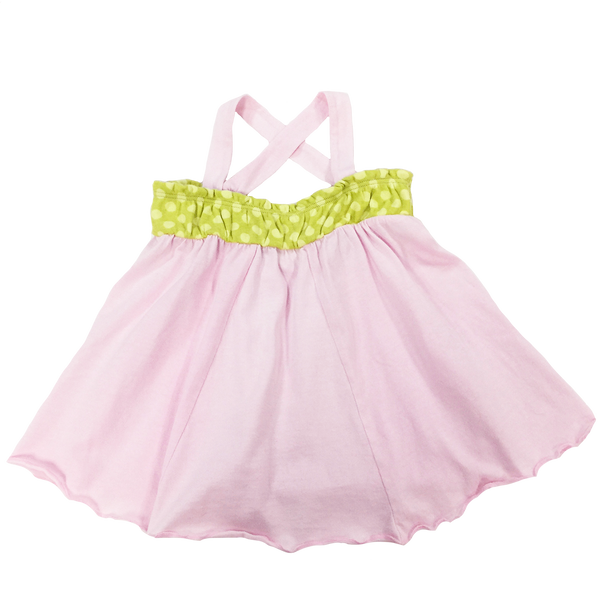 Pink Flowing Tank, Green Dot Band; Toddlers, Little Girls