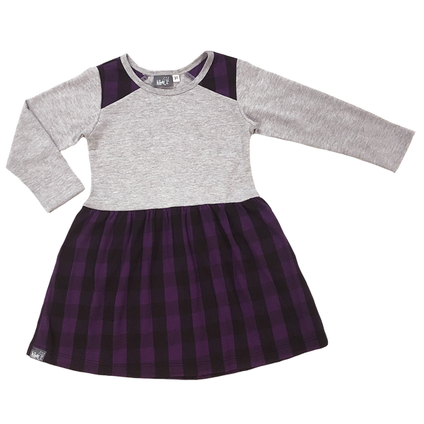 Plaid Fit and Flare Purple - Hibou Clothing