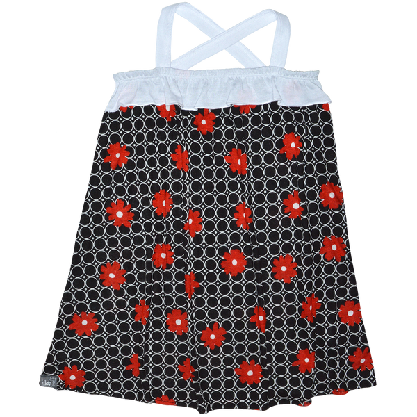 Retro Red Flower Sundress - Hibou Clothing