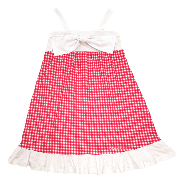 Gingham Dress Red - Hibou Clothing