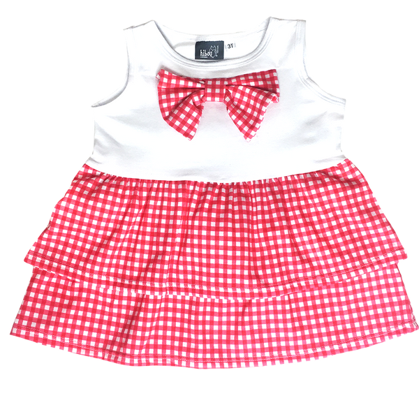 Gingham Bow Tank Red - Hibou Clothing