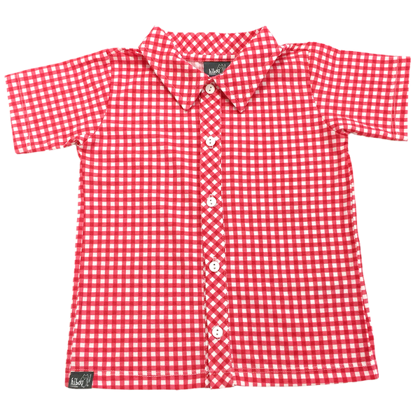 Red Gingham Party Shirt - Hibou Clothing