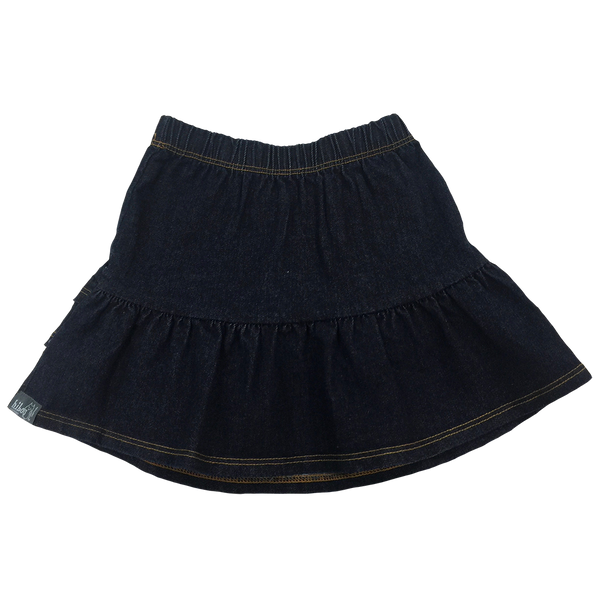 Ruffle Skirt in Denim - Hibou Clothing