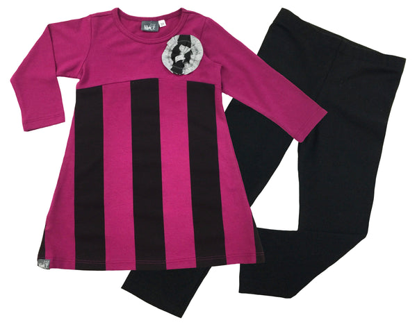 Magenta Stripe Tunic and Legging Set - Hibou Clothing