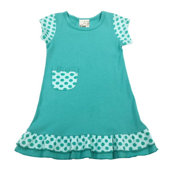 Teal Dot Dress - Hibou Clothing