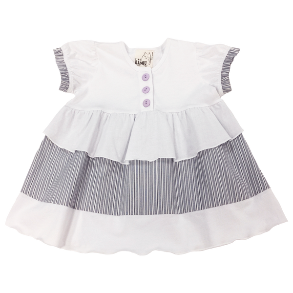White Placket Top with Tiered Ruffle Layers; Gray and White Pin Stripes; Purple Buttons; Toddler, Little Girl