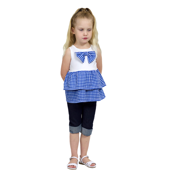 Gingham Bow Tank Blue - Hibou Clothing