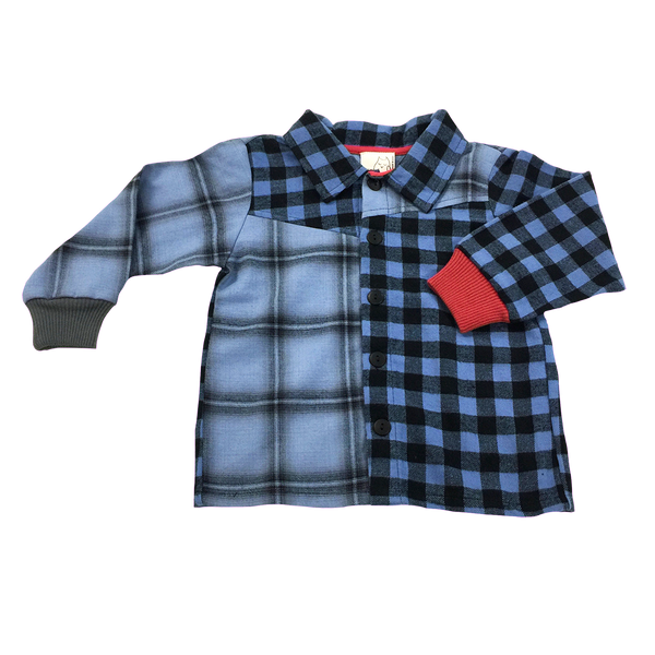 c985b9279d1 Front view blue flannel  Button Down  long sleeves  Toddler