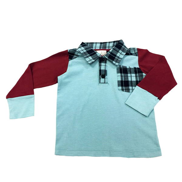 Front View Long Sleeve Shirt; Burgundy Sleeves; Plaid collar and functional pocket; Infants, Toddler, Little Boys