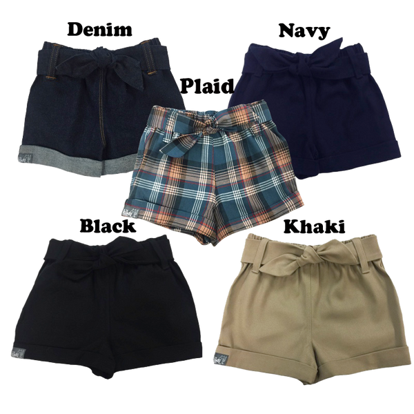 Bow Shorts in Navy Twill - Hibou Clothing