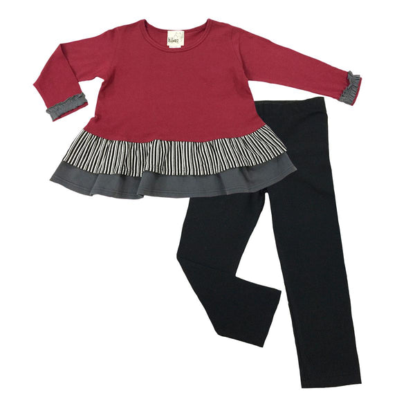 Long Sleeve Burgundy Peplum Set - Hibou Clothing