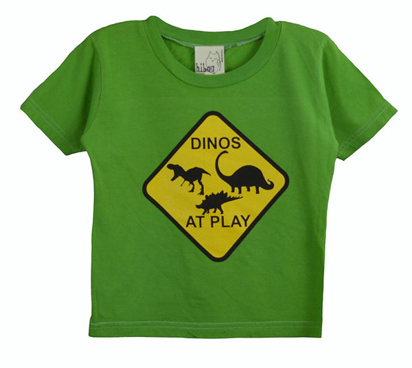 Green Crew Neck Shirt; Print of Dinos At Play; Toddlers, Little Boys