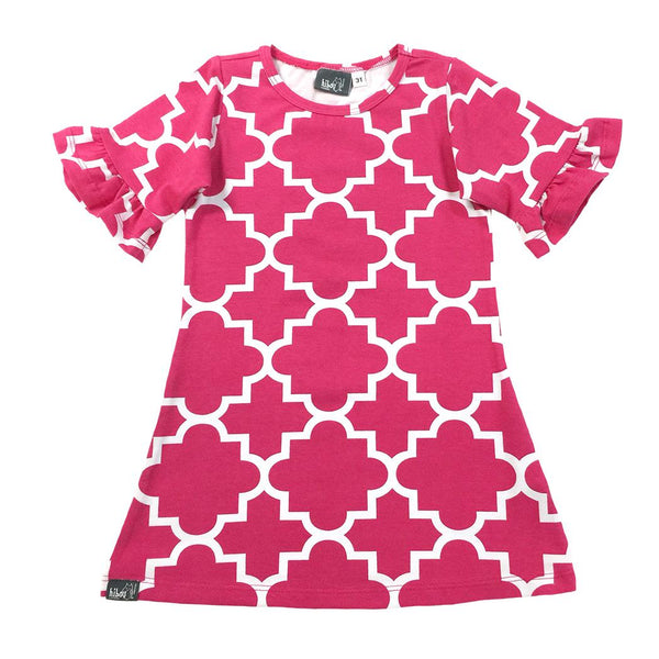 Quatrefoil Dress Pink - Hibou Clothing