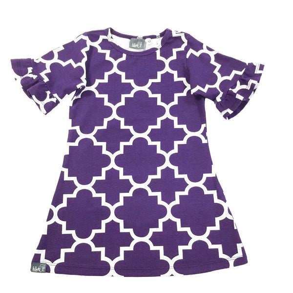 Quatrefoil Dress Purple - Hibou Clothing