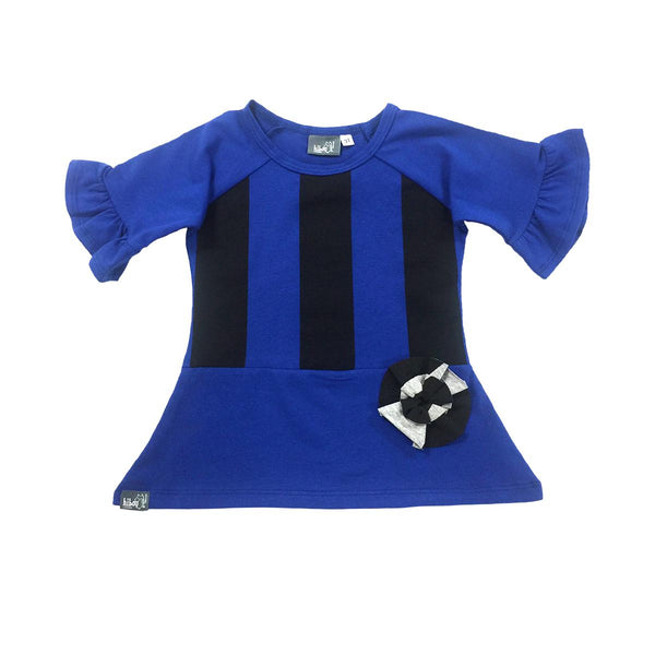 Blue Ruffle Raglan - Hibou Clothing