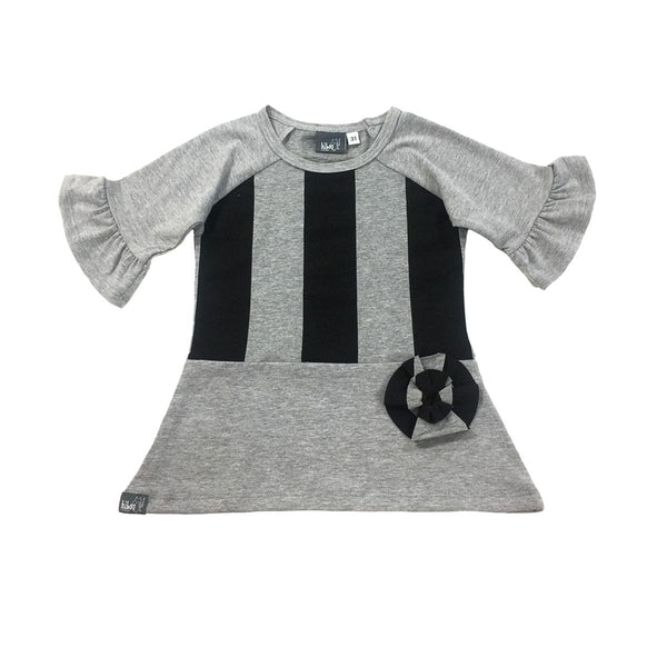 Gray Ruffle Raglan - Hibou Clothing