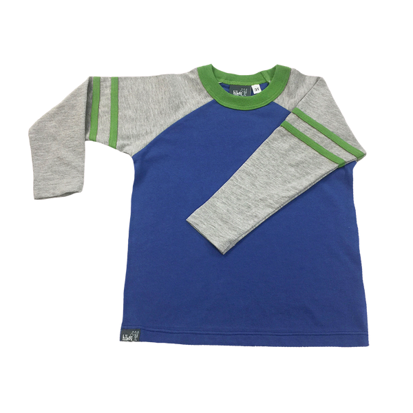 Blue Raglan, Gray Sleeves with Green Varsity Stripes; Crew Neck; Infant, Toddlers, Little Boys