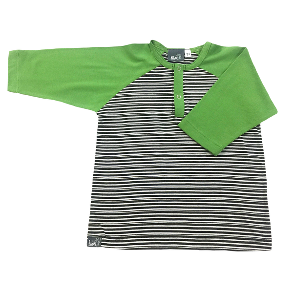 3/4 Raglan Henley, Green Sleeves, Black and white Stripe, Snap Buttons; Infants, Toddler little boys