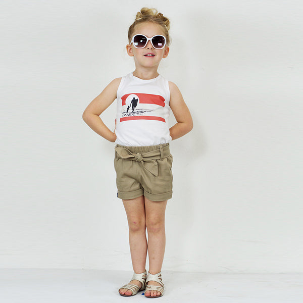 Bow Shorts in Khaki Twill - Hibou Clothing