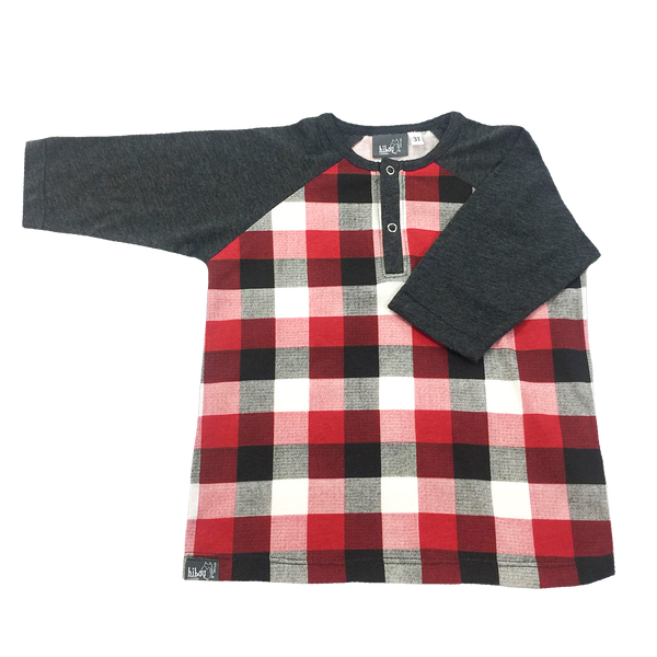 3/4 Raglan Henley Plaid - Hibou Clothing