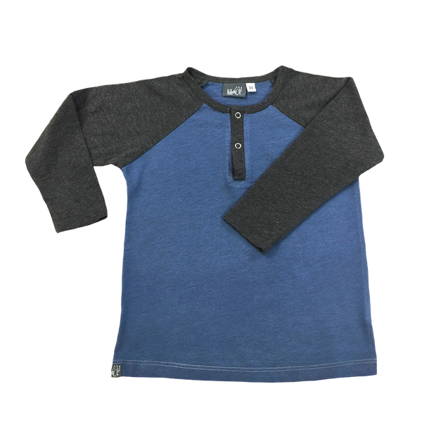Raglan Henley Blue; Dark Heather Gray Sleeves, Snap Buttons; Infants, Toddlers, Little Boys