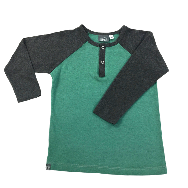 Raglan Henley Green; Dark Heather Gray Sleeves, Snap Buttons; Infants, Toddlers, Little Boys
