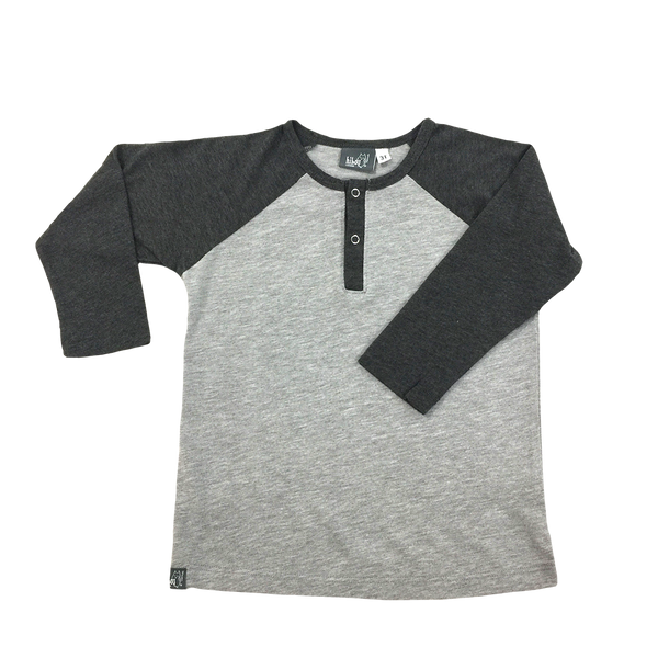 Raglan Henley Gray - Hibou Clothing