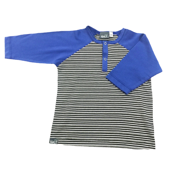 3/4 Raglan Henley Blue; Blue Sleeves, Black and white Stripe, Snap Buttons; Infant, Toddler, Little Boys