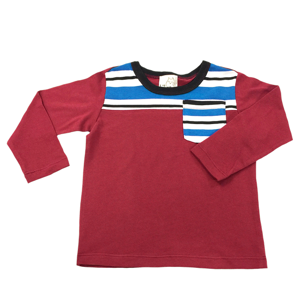 Red Long Sleeve Shirt with Blue and White Stripe Detail Pocket; Infants, Toddlers, Little Boys