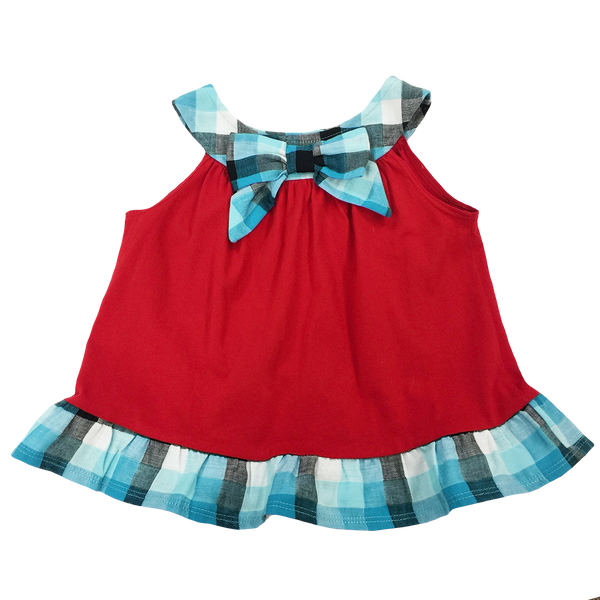 Red Blue Bow Top - Hibou Clothing
