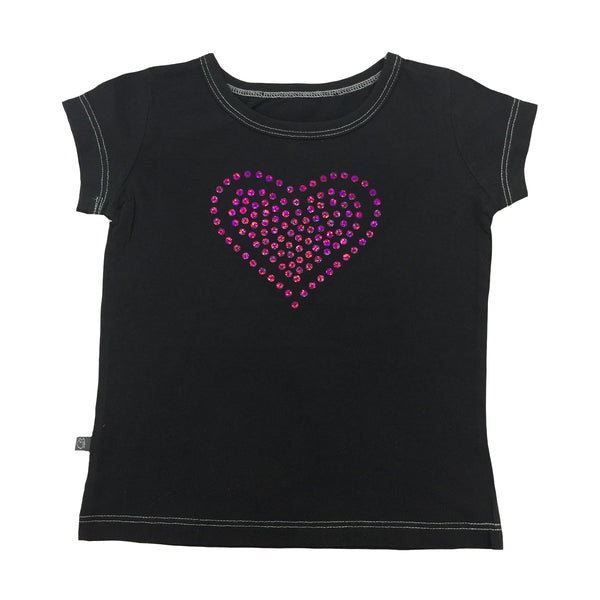 Pink Sequin Heart Top - Hibou Clothing