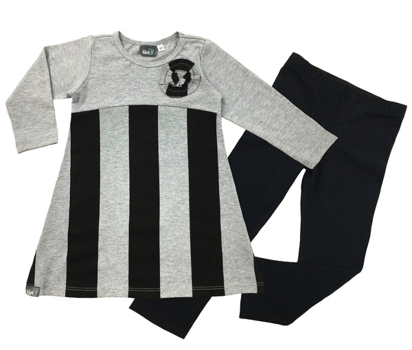 Gray Stripe Tunic and Legging Set - Hibou Clothing