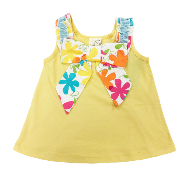 Yellow Floral Bow Tank - Hibou Clothing